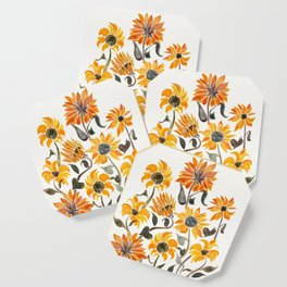 Sunflower Watercolor – Yellow & Black Palette Coaster