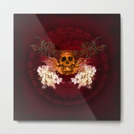 Amazing skull with flowers Metal Print