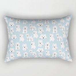 Westies on Light Blue Rectangular Pillow