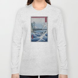 Sea Off Satta - Japanese Woodblock Print by Hiroshige Long Sleeve T-shirt