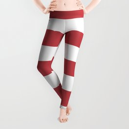 Watermelon red - solid color - white stripes pattern Leggings