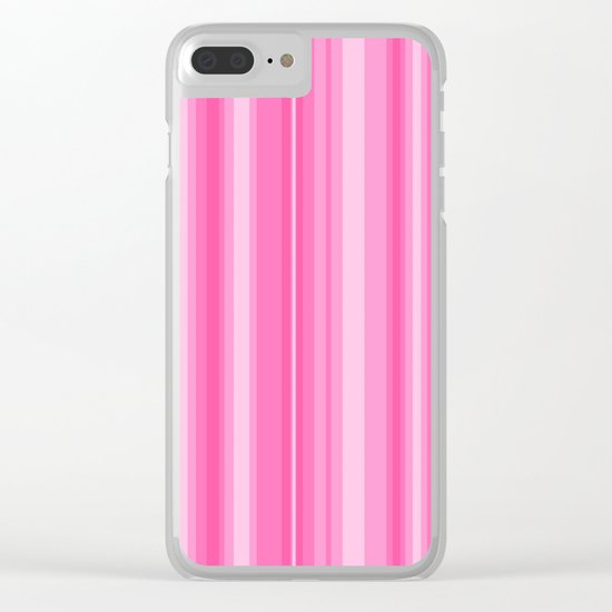 Pink Candy Stripe Clear iPhone Case