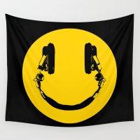 dj Wall Tapestries featuring Smiley DJ by Spyck