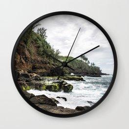 On the Rocks at Secret Beach Wall Clock