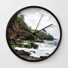 On the Rocks at Secret Beach Wall Clock