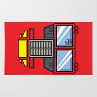 optimus prime Area & Throw Rugs featuring Transformers - Optimus Prime by CaptainLaserBeam