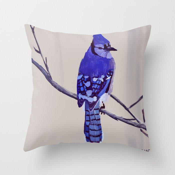 Blue Jay Bird Throw Pillow