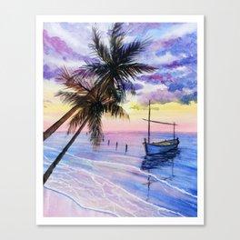 Coconut Beach Sunset Canvas Print