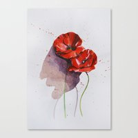 poppies Canvas Prints featuring Poppies by Alina Rubanenko
