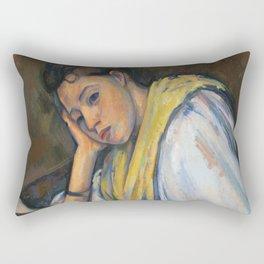 Paul Cézanne -Young Italian Woman at a Table Rectangular Pillow