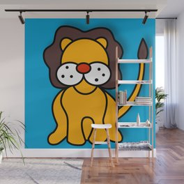 LION on Blue (Digital Version) Wall Mural