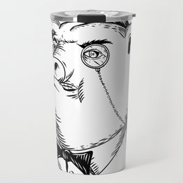 Aristocratic Pig Monocle Black and White Drawing Travel Mug