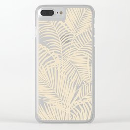 Modern tropical elegant ivory palm tree pattern Clear iPhone Case