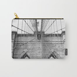 Black and white Brooklyn Bridge   travel photography New York city USA art print Carry-All Pouch