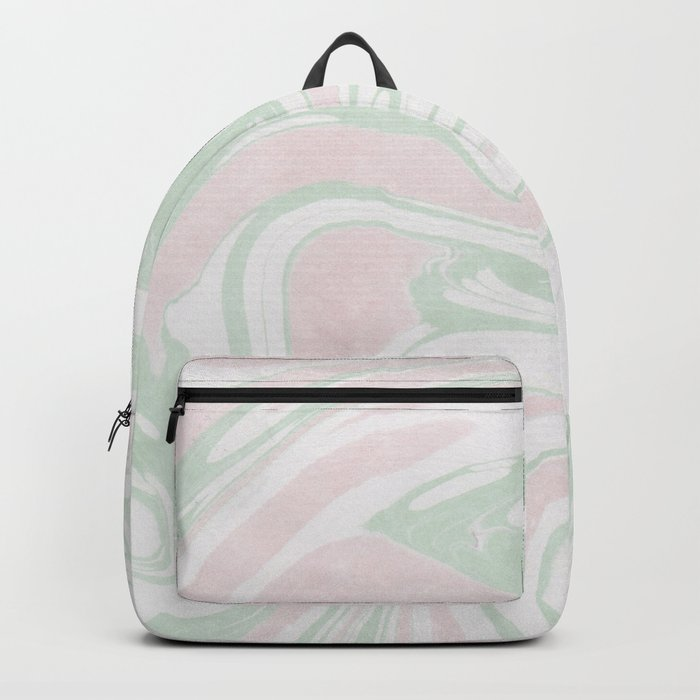 Paper Marbling Marble Effect Swirl Pink Green Backpack