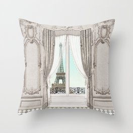 Eiffel Tower room with a view Throw Pillow