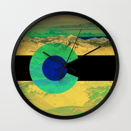 Colorado flag and mountains Wall Clock