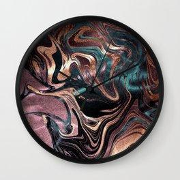 Metallic Rose Gold Marble Swirl Wall Clock