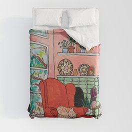 Red Armchair in Pink Interior with Houseplants, Ginger Cat, and Spaniel Interior Painting Duvet Cover