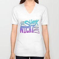 acdc V-neck T-shirts featuring All Night Long by Leah Flores