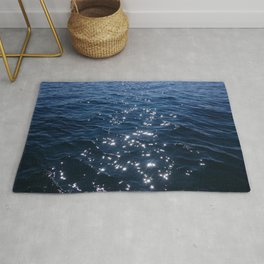 Sparkly Deep Blue Sea Waves Rug