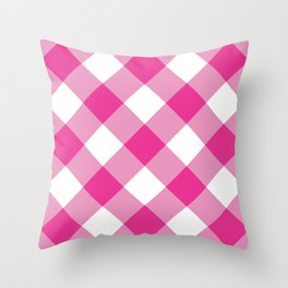 Gingham - Pink Throw Pillow