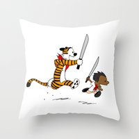 calvin and hobbes Throw Pillows featuring Bonifacio and Hobbes by Cesar Cueva