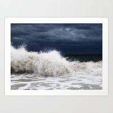 Double Wave Crash Art Print