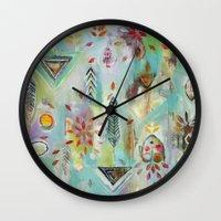 "flora bowley Wall Clocks featuring ""Liminal Rights"" Original Painting by Flora Bowley by Flora Bowley"