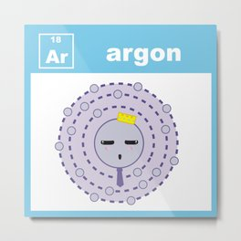 Periodic Table of Cute Elements -- Argon Metal Print