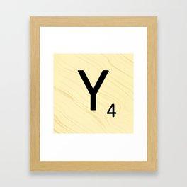Scrabble Y Initial - Large Scrabble Tile Letter Framed Art Print