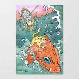 Island Cats go fishing! Canvas Print