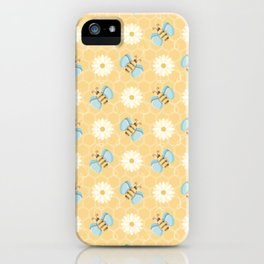 Bumble Bees & Daisies Pattern with Honeycomb Background iPhone Case