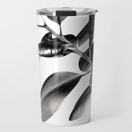 Ficus Elastica Black Gray White Vibes #1 #foliage #decor #art #society6 Travel Mug