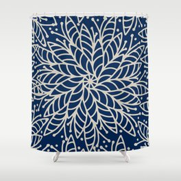 Modern navy blue ivory hand painted floral mandala Shower Curtain