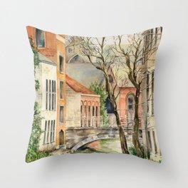Bruges, Belgium Europe Water and Bridge — Watercolor Art Print Throw Pillow