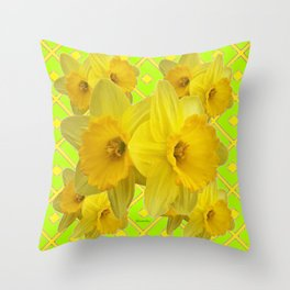 Lime Color & Yellow Daffodils Pattern Art Throw Pillow