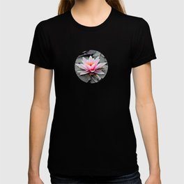 Pink Waterlily on Black Gothic Leaves. T-shirt