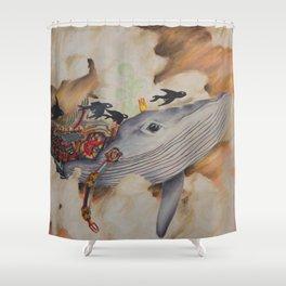 Whale Machine Shower Curtain