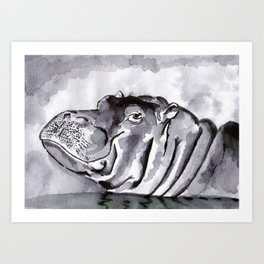 Hippo - Animal Series in Ink Art Print