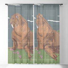 Summer Walrus Sheer Curtain