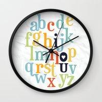 alphabet Wall Clocks featuring Alphabet by ModBee Design