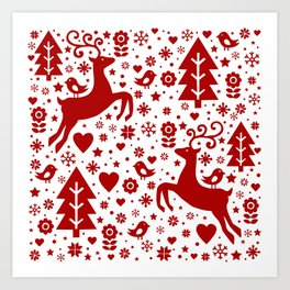 Scandinavian Christmas pattern Art Print
