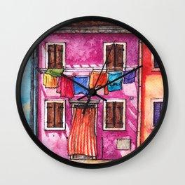 Burano laundry ink and watercolor illustration Wall Clock