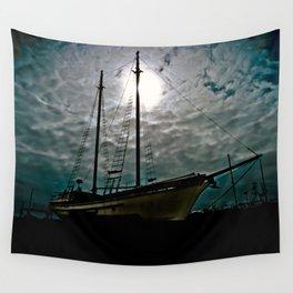 Boat Ship Pirate Fishing Shipyard Ocean Nautical Wall Tapestry