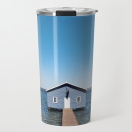 A Blue Boat House, Sky and Harbour in Perth, Western Australia Travel Mug