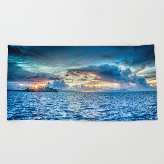 Bora Bora Polynesia sunset Beach Towel