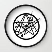 lovecraft Wall Clocks featuring Lovecraft Print Sacrifice Necronomicon  by Nikki L.