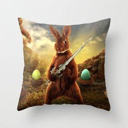 rabbit fighter Throw Pillow