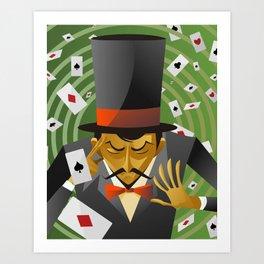 top hat magician poker cards magic trick Art Print